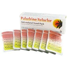Embalagem Paludrine/Avloclor (Proguanil Hydrochloride 100g/Coloroquine Phosphate 250 mg) 112 comprimidos