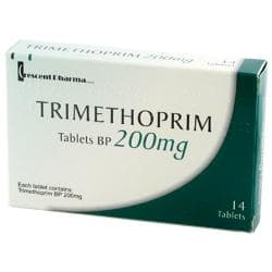 Trimethoprim pakke med 14 filmovertrukne tabletter af 200 mg