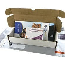 Box of Levitra 20mg capsules with blister packs and patient information leaflet