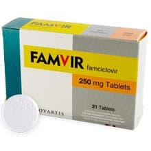 Box of Famvir 250mg famciclovir film-coated tablets