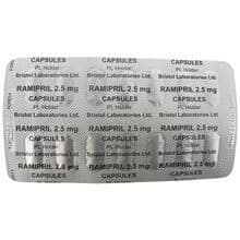 Front and back view of ramipril 10mg capsule blister pack