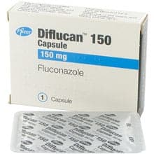 Box of Diflucan 150mg oral capsule with blister pack