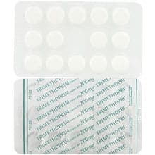 Front and rear view of Trimethoprim 200mg tablet blister packs