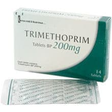 Box of Trimethoprim tablets with blister pack